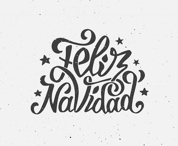Vintage feliz navidad plakat typograficzne wektor