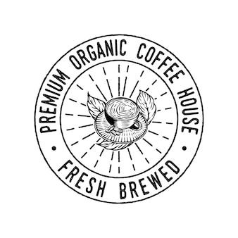 Vintage filiżanka kawy ręcznie rysowane emblemat znaczek