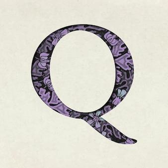 Vintage fioletowa litera q typografia