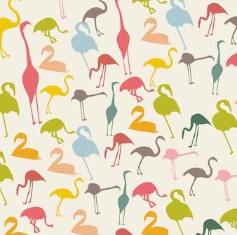 Vintage flamingo na beżowym tle zwierząt