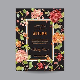 Vintage floral frame - autumn hortensia flowers - na zaproszenie, ślub, baby shower card