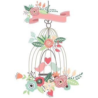 Vintage flowers with love birdcage