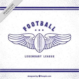 Vintage futbol amerykański piłka tle ze skrzydłami
