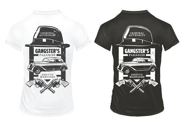 Vintage gangster drukuje szablon na koszulkach z napisami kapelusz skrzyżowane rewolwery mafia klasyczny samochód retro na białym tle
