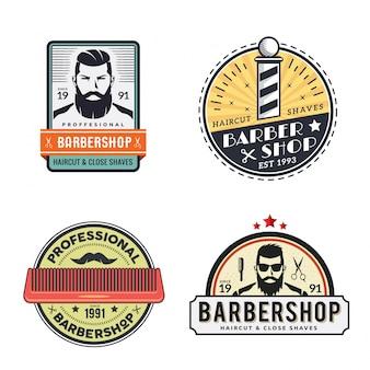 Vintage gentleman barbershop logo ustaw ilustracji