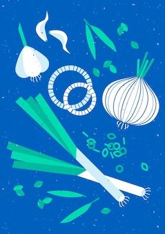 Vintage geometryczny plakat żywności cebuli