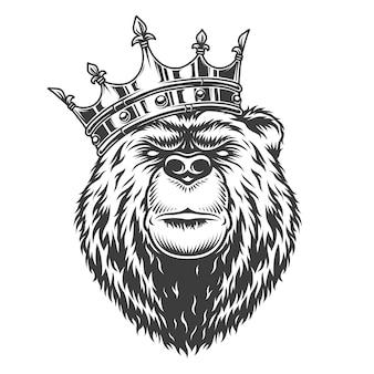 Vintage głowa niedźwiedzia królewskiego w koronie