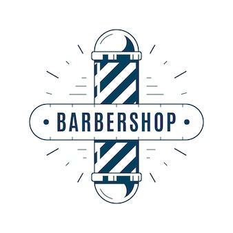 Vintage godło fryzjera, etykieta lub logo. grafika liniowa w stylu płaski