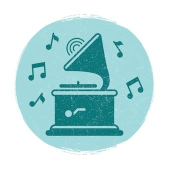 Vintage godło muzyka notatki gramofon
