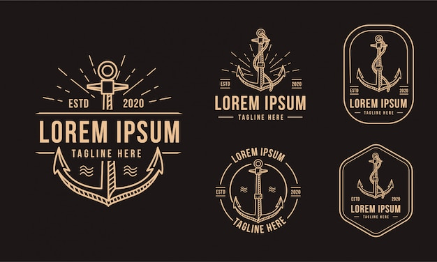 Vintage godło odznaka kotwica ikona logo morskie na czarnym tle