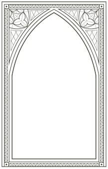 Vintage gotycka ilustracja kontur łuku okna