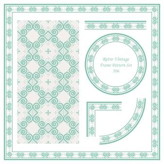 Vintage granicy bez szwu wzór tła ustawić okrągłą spiralną krzywą wirową trójkątną ramkę.