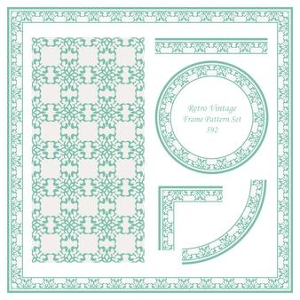 Vintage granicy wzór tła zestaw krzywa spirala krzyż rama kwadratowy herb.