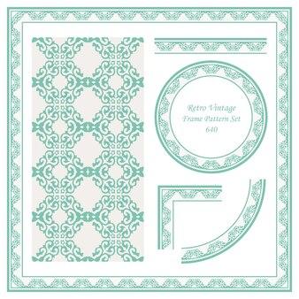 Vintage granicy wzór tła zestaw sprawdź cruve krzyż herb królewski spiralny łańcuch.
