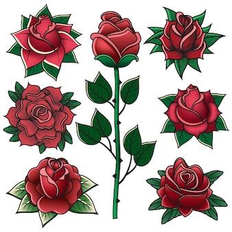 Vintage grawerowanie róże starej szkoły symbole tatuażu. stara szkoła tatuażu róża kwiaty elementy na białym tle wektor zestaw ilustracji. tatuaże różane w stylu vintage