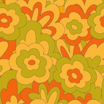 Vintage groovy bezszwowy wzór z wlover i liściem