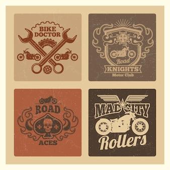 Vintage grunge motocykl etykiety