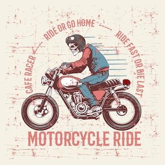 Vintage grunge stylu czaszki na sobie kask i tekst kawiarnia racer strony rysunku