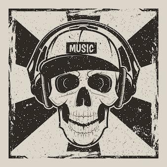 Vintage grunge z ludzkiej czaszki w czapce i ze słuchawkami