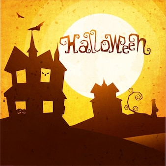 Vintage halloween tle z sylwetką