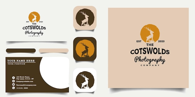Vintage_handrawn_deer_logo_and_business_card_template_