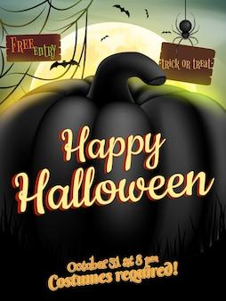 Vintage happy halloween typograficzne tło z dyni.