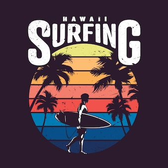 Vintage hawaje surfowania etykiety