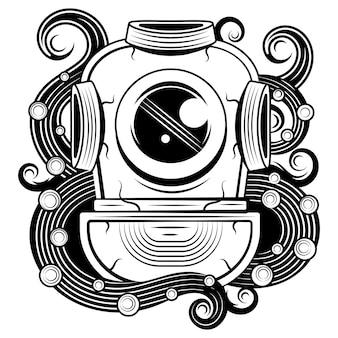 Vintage hełm nurka z mackami ośmiornicy. element projektu plakatu, koszulki, znaku, etykiety, logo. ilustracja wektorowa
