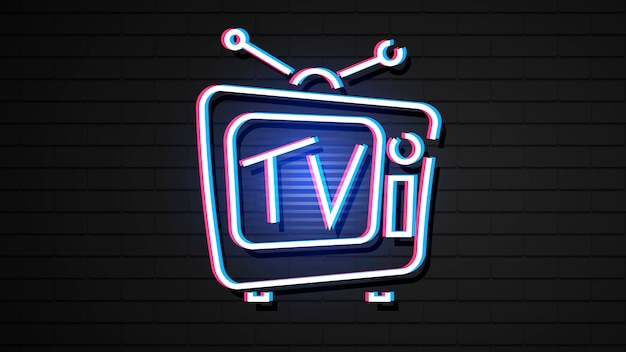 Vintage hologram tv w stylu neonu.