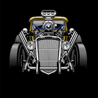 Vintage hotrod niestandardowy samochód z dużym silnikiem
