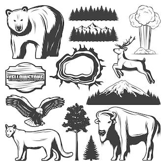 Vintage ikony parku narodowego yellowstone zestaw ze zwierzętami leśnymi górskimi eksplodującymi gejzerami wielka pryzmatyczna wiosna drewniana deska na białym tle