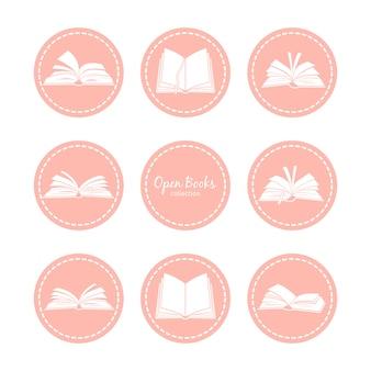 Vintage ikony z otwartych książek. czytanie wektor zestaw ikon
