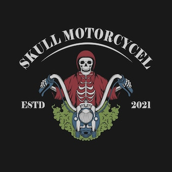 Vintage ilustracja czaszki z motocyklem