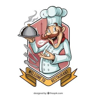 Vintage ilustracją kucharza