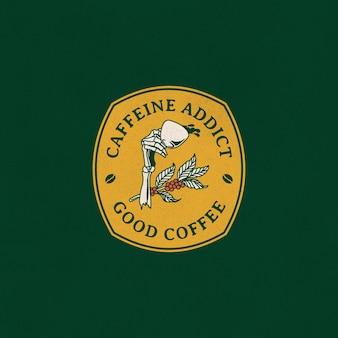 Vintage ilustracja odznaka logo kawy parzonej ręcznie