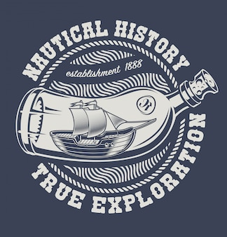 Vintage ilustracji butelki ze statkiem na ciemnym tle. nadaje się do projektowania koszulek.