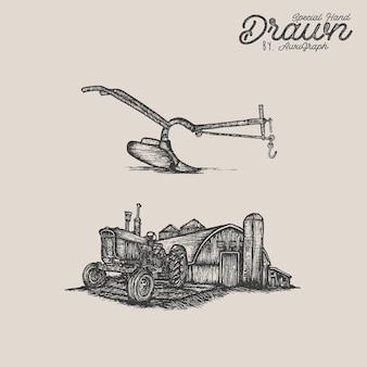 Vintage ilustracji farmy