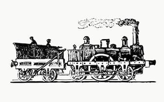Vintage ilustracji pociąg parowy