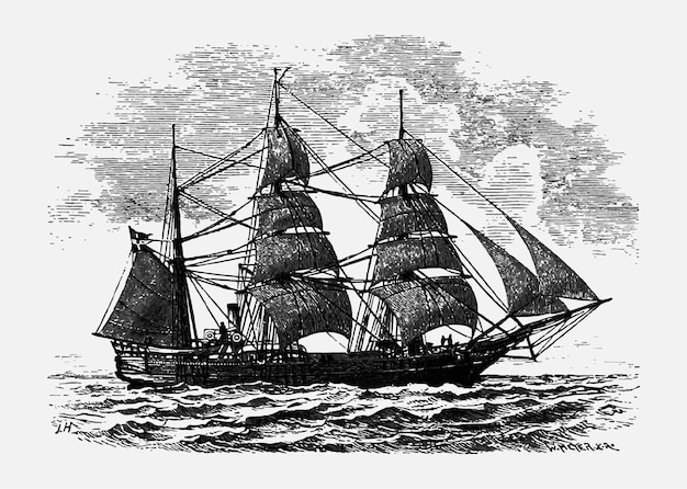 Vintage ilustracji statku