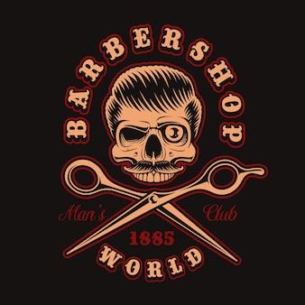Vintage ilustracji szkieletu fryzjera z nożyczkami na ciemnym tle. jest to idealne rozwiązanie do logo, nadruków na koszulach i wielu innych zastosowań.