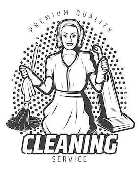 Vintage ilustracji usługi sprzątania