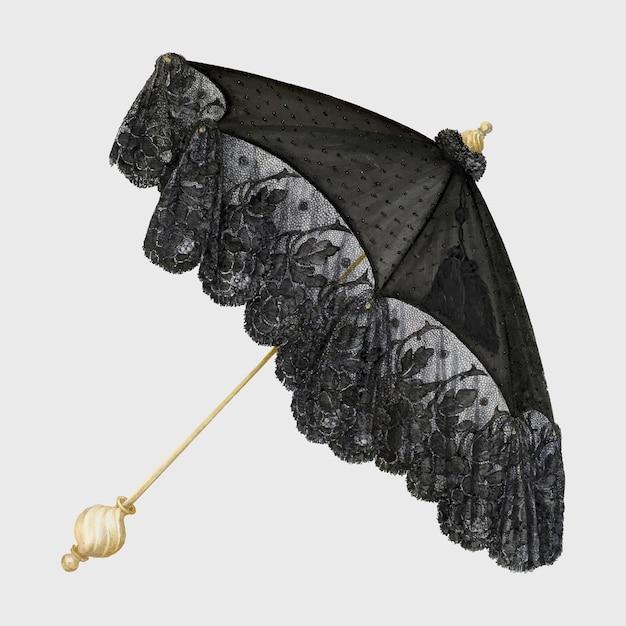 Vintage ilustracji wektorowych czarny parasol, remiks z dzieła petera connin