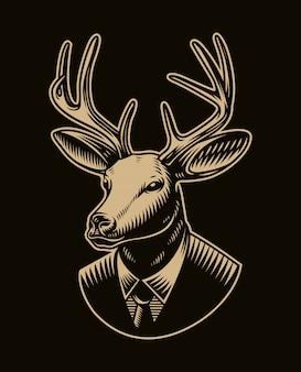 Vintage ilustracji wektorowych głowa jelenia