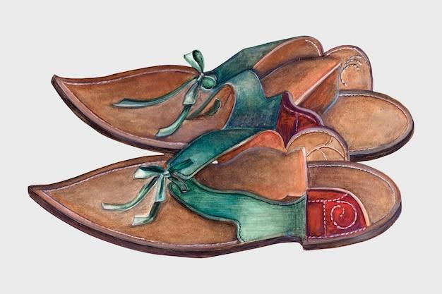 Vintage ilustracji wektorowych ochraniacze na buty damskie, zremiksowane z grafiki autorstwa elli josephine sterling.