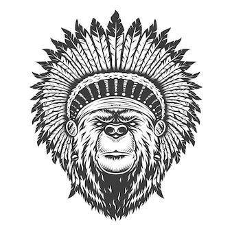 Vintage indian szef niedźwiedź głowy