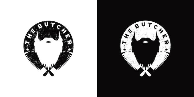 Vintage inspiracja logo rzeźnika