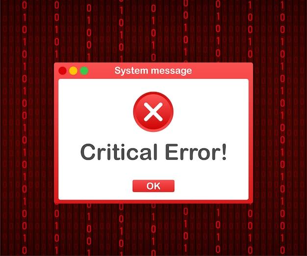 Vintage interfejs użytkownika. komunikat ostrzegawczy o krytycznym błędzie. zbiory ilustracji.