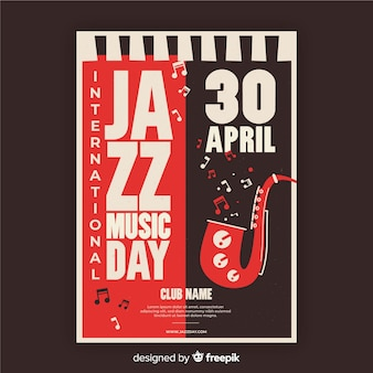 Vintage international jazz day plakat szablon