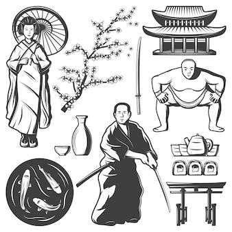 Vintage japonia elementy zestaw z samurajskim graczem sumo gejsza dzbanek miecz sushi herbata koi karpie budynek gałąź sakkury na białym tle