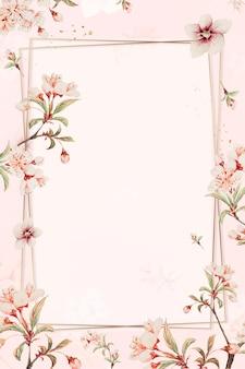 Vintage japońska ramka kwiatowa z kwiatami wiśni i hibiskusem, remiks z dzieł megaty morikaga